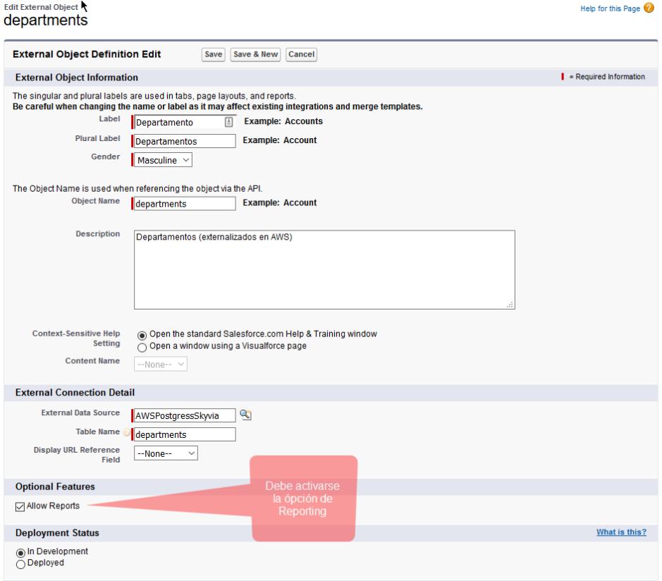 Activar Opción para Reporting en el External Object