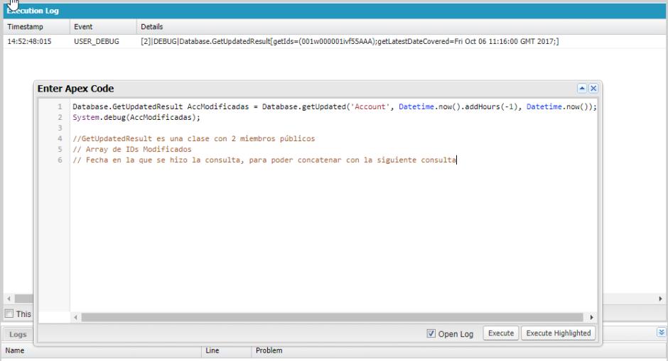 Captura de pantalla de uso de la Replication API de Salesforce