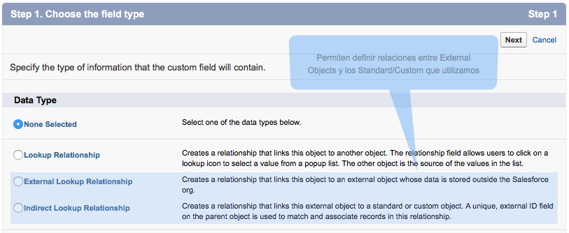 Establecer relaciones con External Objects es una funcionalidad Standard de Salesforce