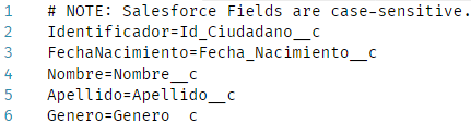 Contenido del fichero CargaCiudadanos.sdl con el mapping entre las columna del fichero CSV y los campos del Big Object