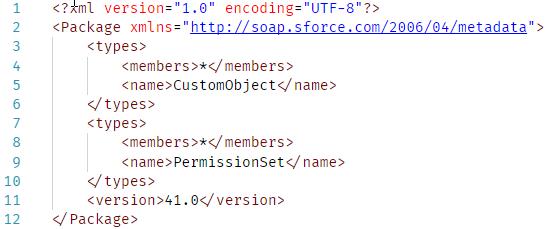 Contenido del fichero package.xml para el despliegue del Big Object Ciudadanos