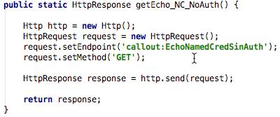 Código APEX que realiza la invocación al Web Service sin autenticación