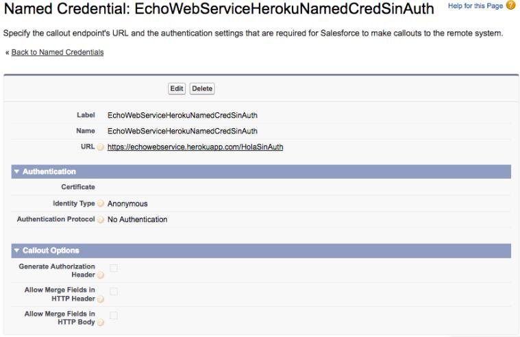 Configuración de una Named Credential para acceso al servicio que no requiere Autorización