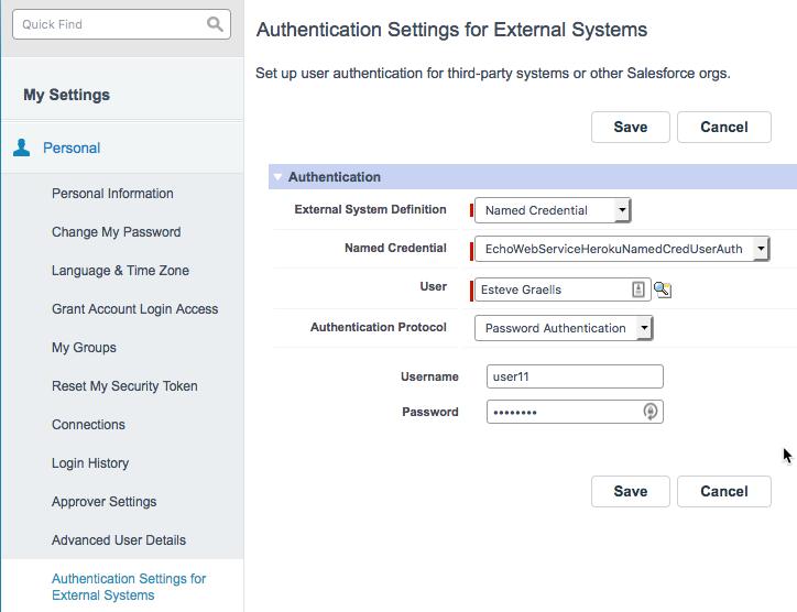 Definicion del Auth Settings External System donde introducimos las credenciales que se usarán para autenticarse con el endpoint remoto